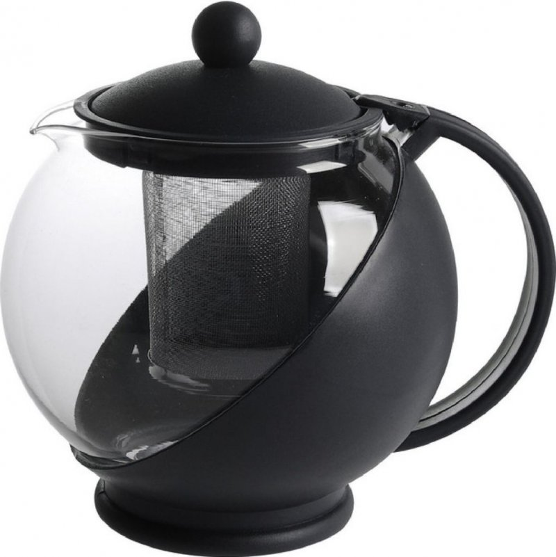 Чайник заварочный 1250мл с фильтром стекло пластик черный