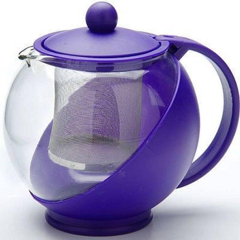Чайник заварочный 750мл с фильтром стекло пластик фиолетовый