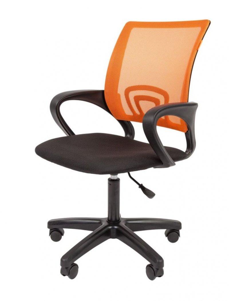 Кресло для оператора Chairman CH-696 с подлокотниками ткань/сетка черное/оранжевое
