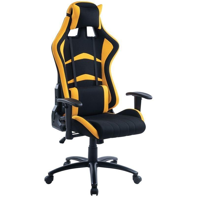Кресло игровое Helmi HL-G07 Pointer 2подушки ткань черная/желтая