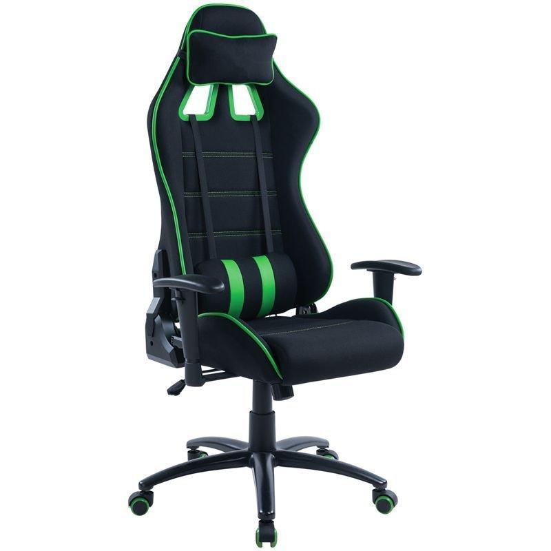 Кресло игровое Helmi HL-G08 Target 2подушки ткань черная/зеленая