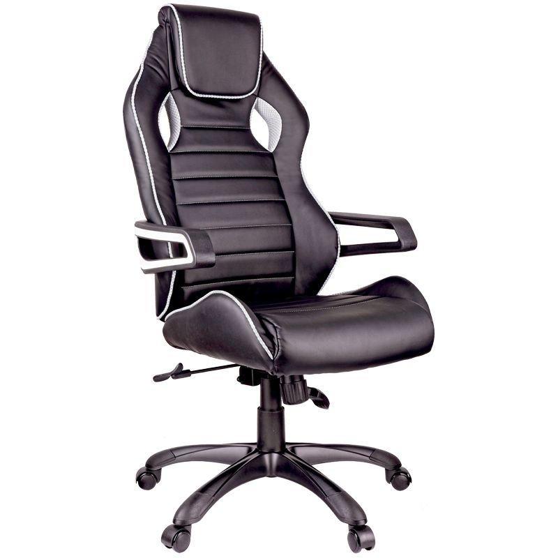 Кресло игровое Helmi HL-S03 Drift экокожа черная вставка ткань серая