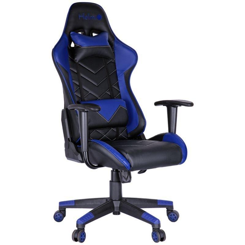 Кресло игровое Helmi HL-G02 Grand Prix 2 подушки экокожа черная/синяя