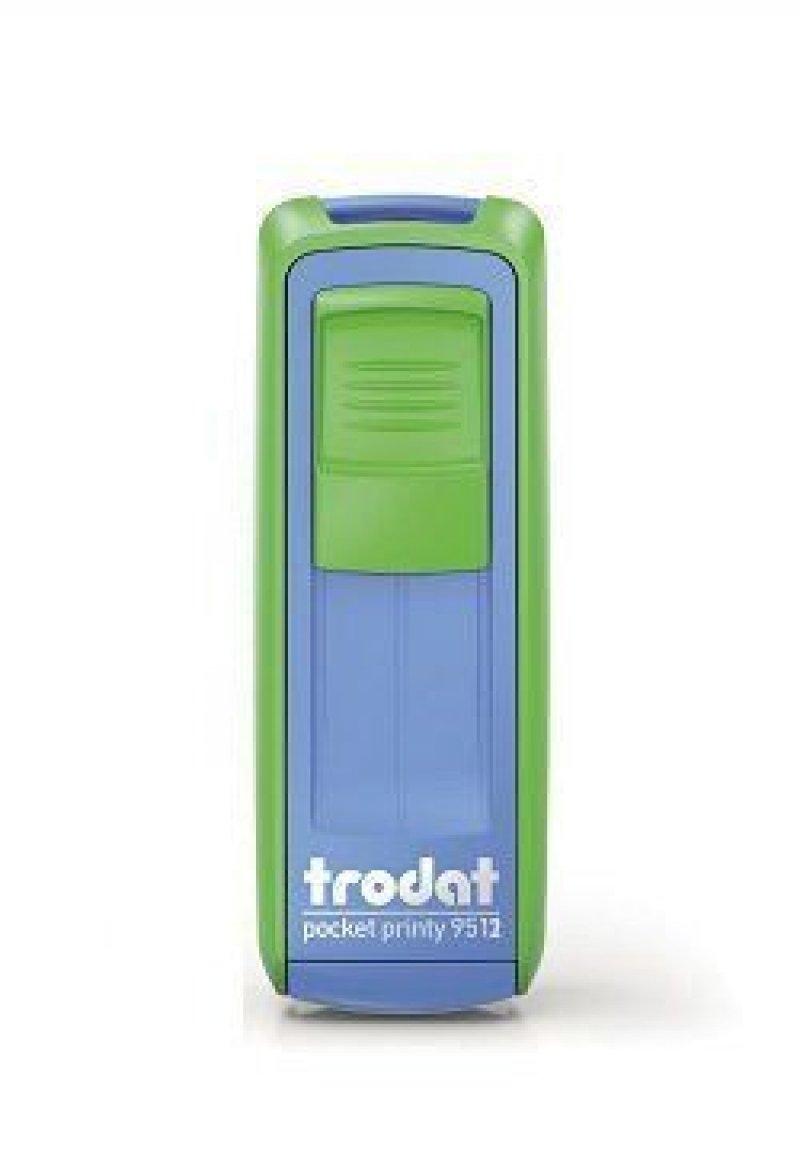 Штамп карманный Trodat 9511 оттиск 38x14мм синий и зеленое яблоко