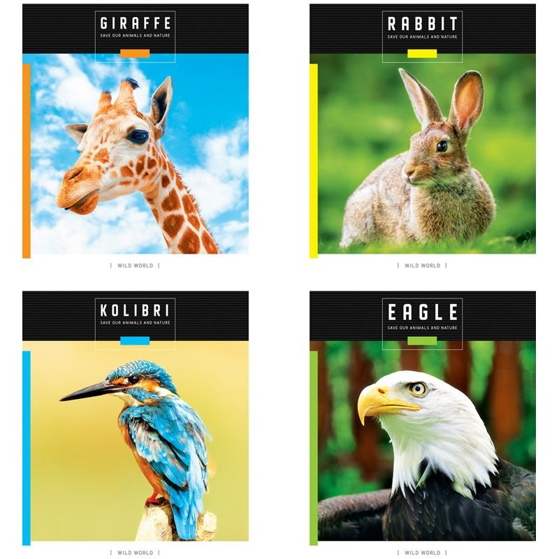 Тетрадь 48л Животные Save wild world