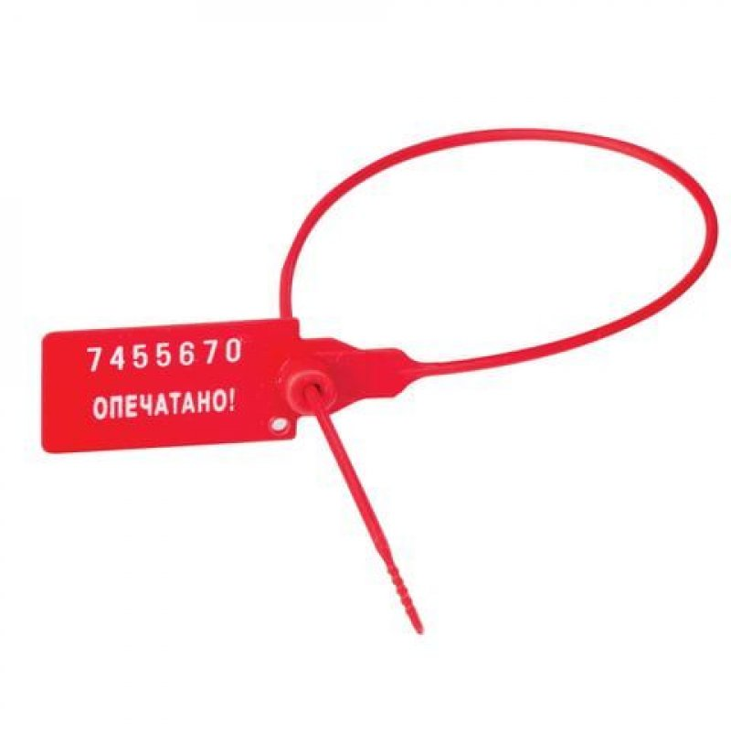 Пломба пластиковая самофиксирующаяся номерная 320мм 50шт/уп красная