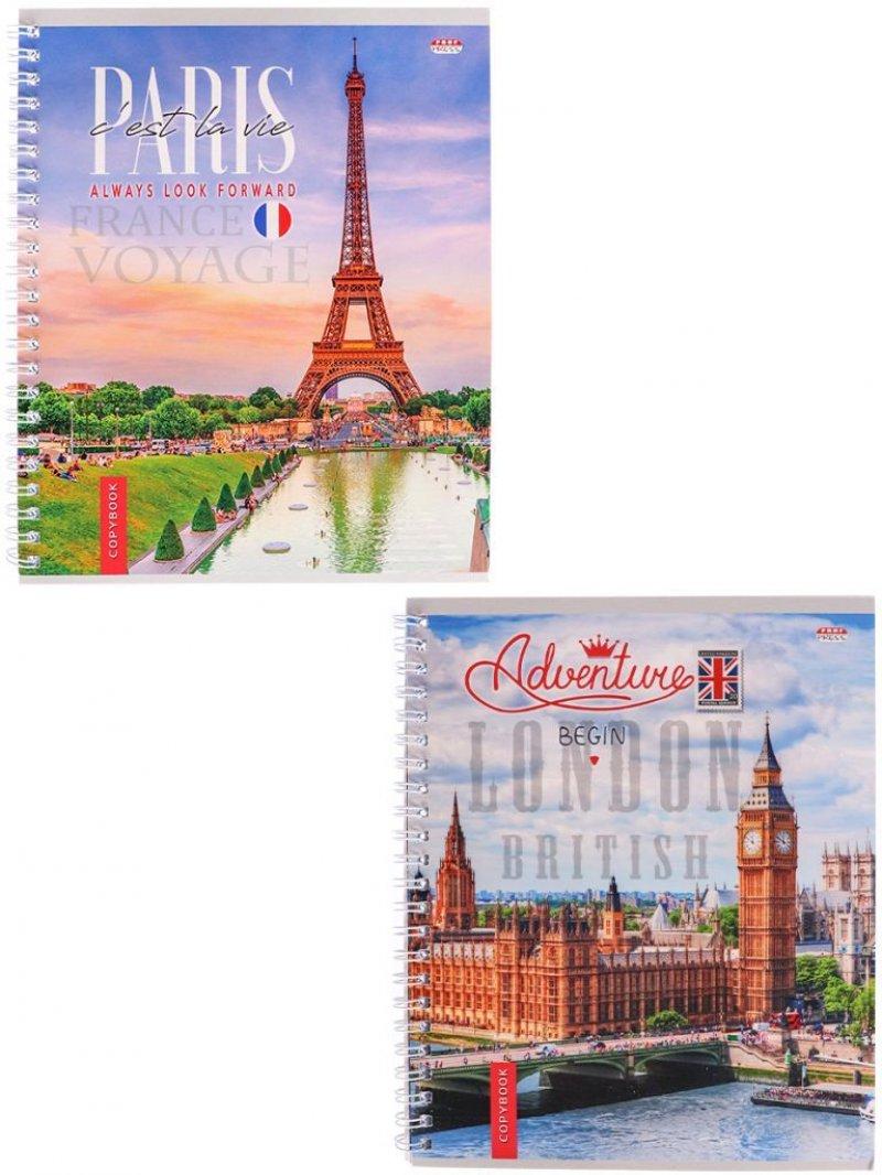 Тетрадь 48л Архитектура Европы мелованный картон клетка гребень
