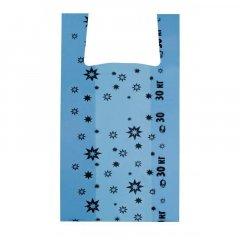 Пакет Майка 35+16x60см 20мкм Звезда синий 100шт/уп