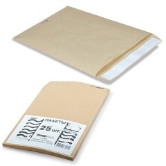 Конверт-пакет крафт плоский 229х324мм С4 с отрывной полосой на 250 листов поштучно