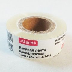 Клейкая лента 19х33 прозрачная Attache к/в