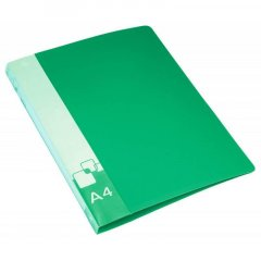 Папка на 2-х кольцах 40мм Бюрократ с карманом зеленая