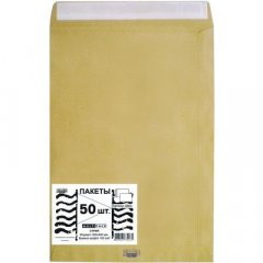 Конверт-пакет крафт плоский Е4 300х400мм Multipack с отрывной полосой