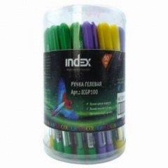 Ручка гелевая Index Colourplay 0,6мм рельефный держатель игольчатый наконечник корпус ассорти синяя
